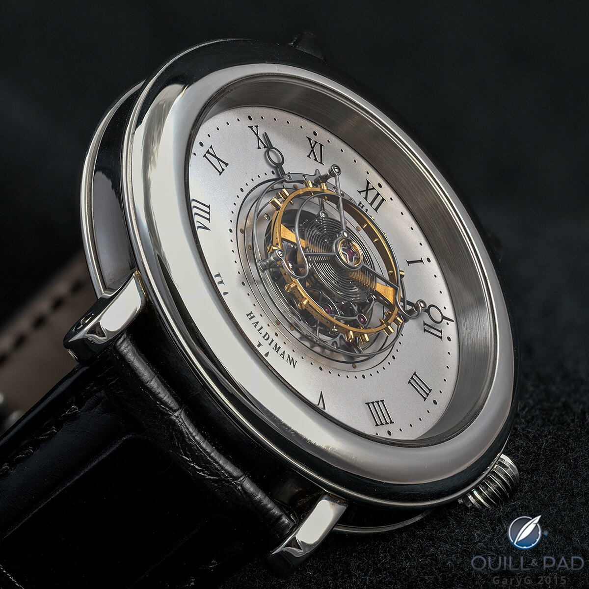 Haldimann H1 Flying Central Tourbillon emphasizing the tourbillon carriage