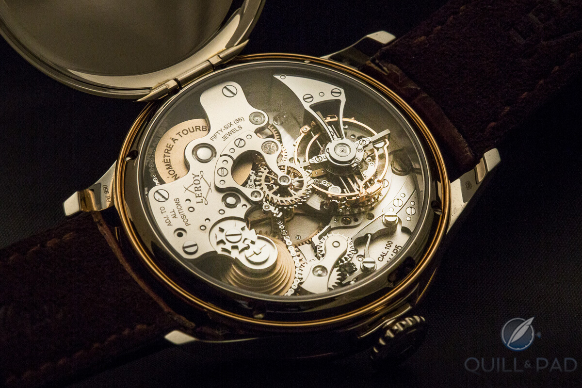 The unassuming dial belies the incredible movement visible through the display back of the Leroy Chronomètre à Tourbillon