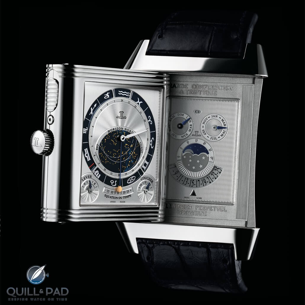 An open view of the Jaeger LeCoultre Reverso Grande Complication à Triptyque