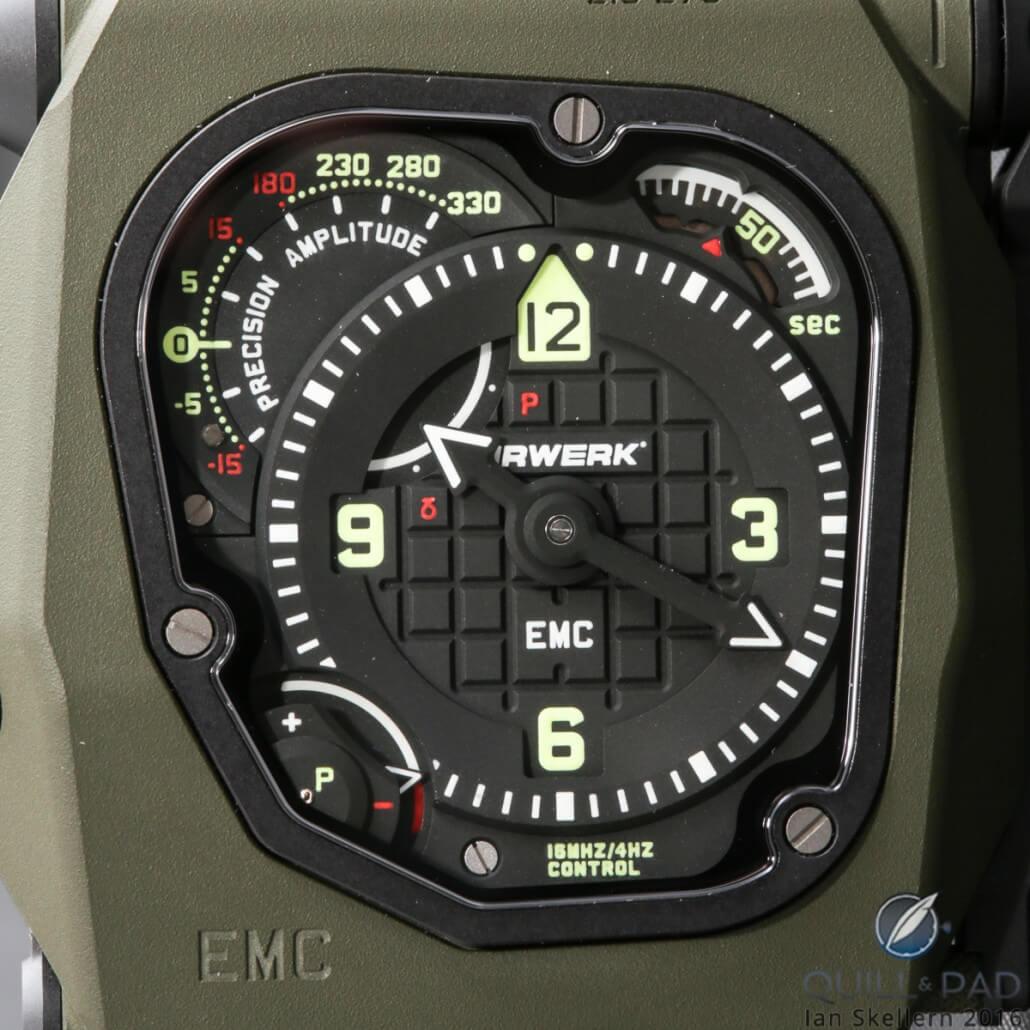 Close look at the dial of the Urwerk EMC2