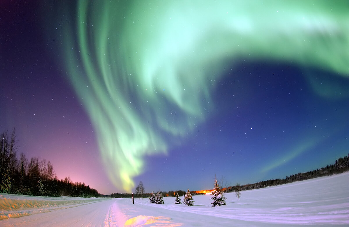 Aurora Borealis seen in Germany, note how bright the scenery looks for a dark night