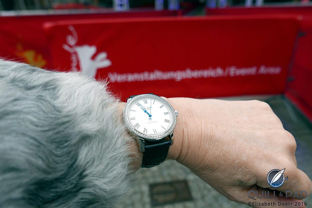 Glashütte Original Senator Automatic with diamond-set bezel on the wrist