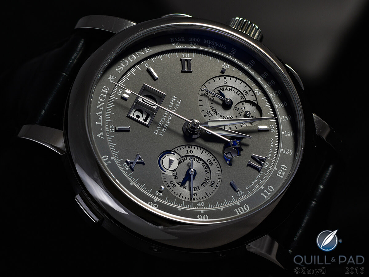 Film Noir look: high-contrast view of the A. Lange & Söhne Datograph Perpetual with strong side lighting