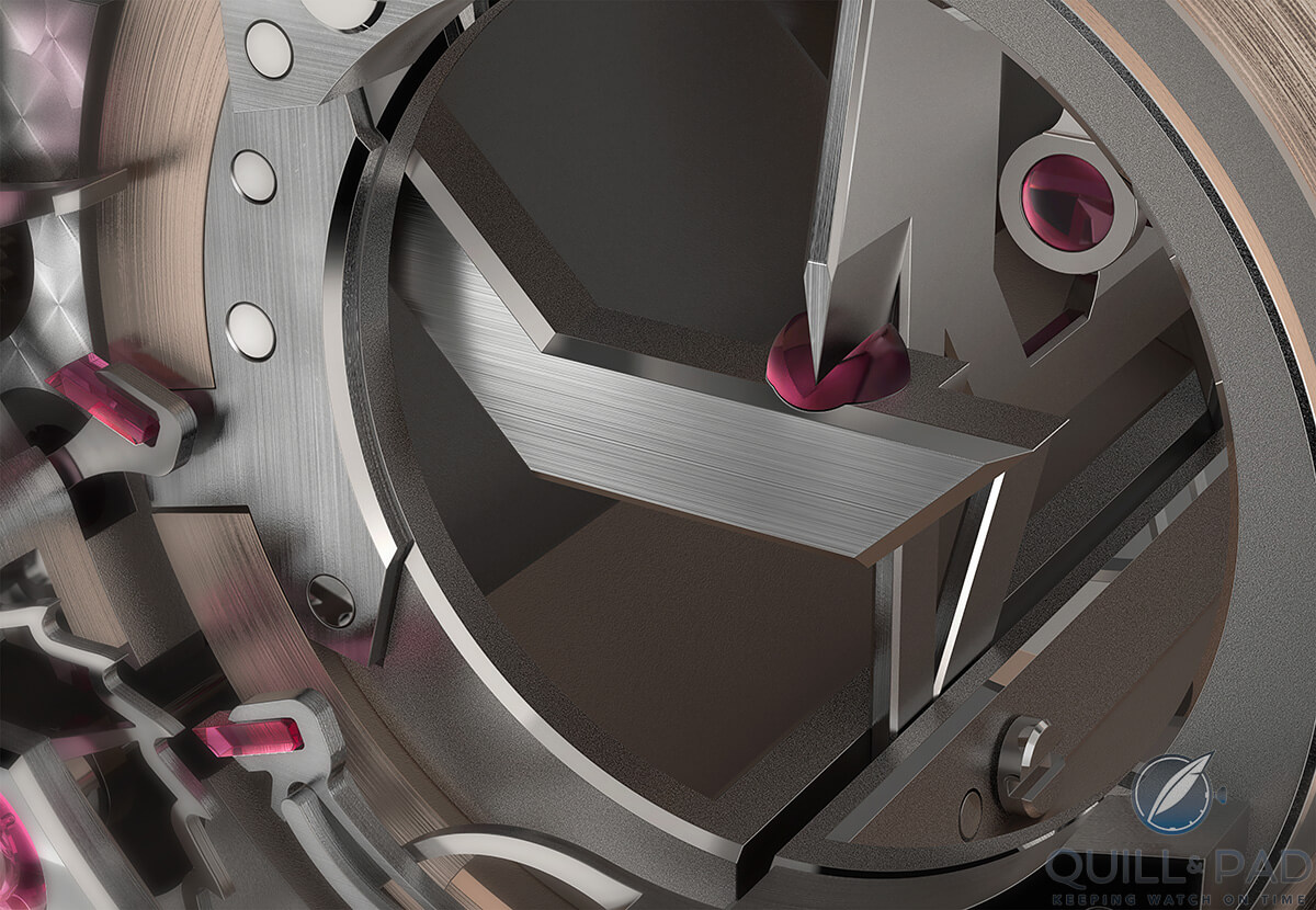 Close view of the blade resonator in Dominique Renaud's DR01 Twelve First