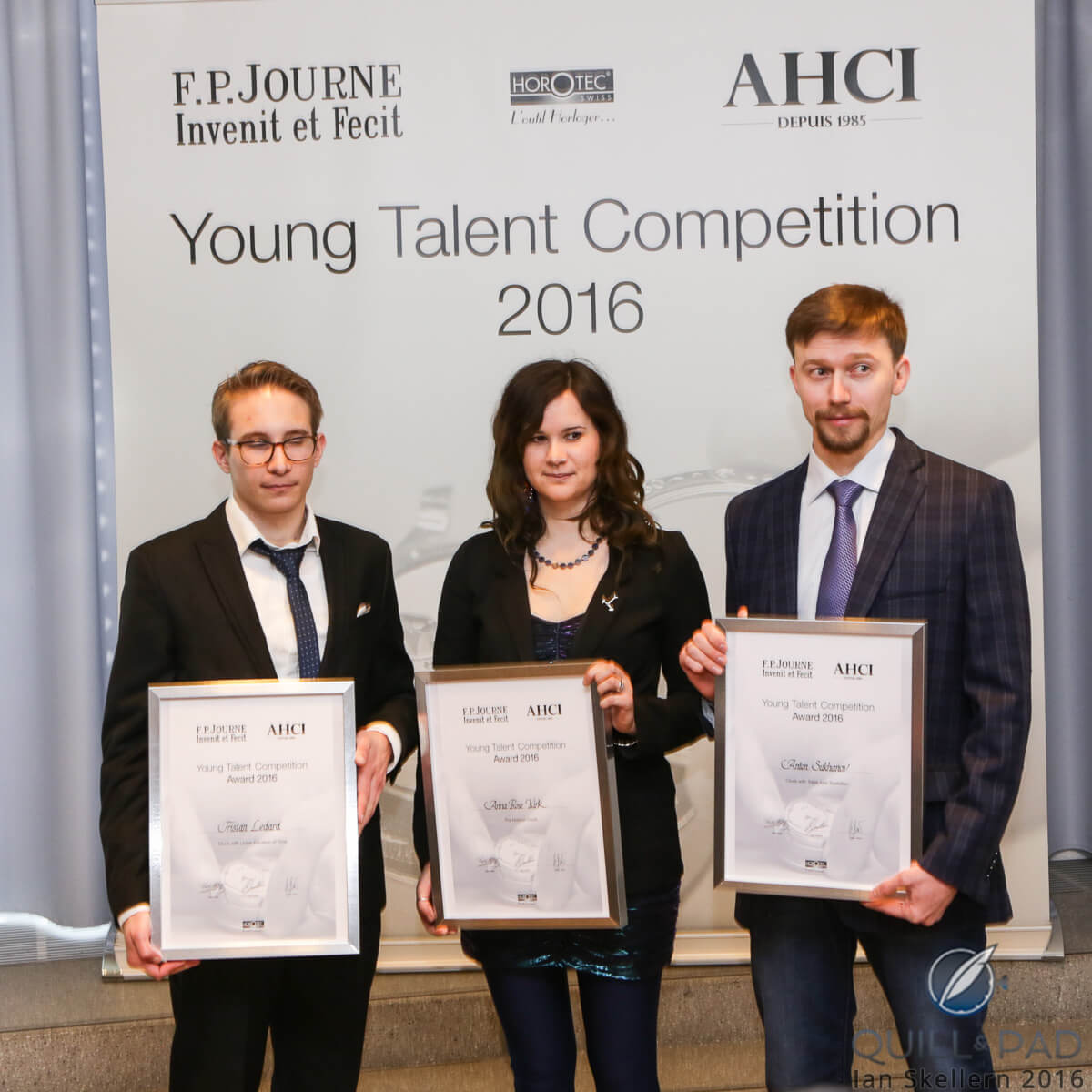 The AHCI Young Talent Competition 2016 winners (L-R): Tristan Ledard, France, for clock displaying a linear equation of time; Anna-Rose Kirk, England for her Horizon Clock, and Anton Sukhanov from Russia for his Triple-Axis Tourbillon clock