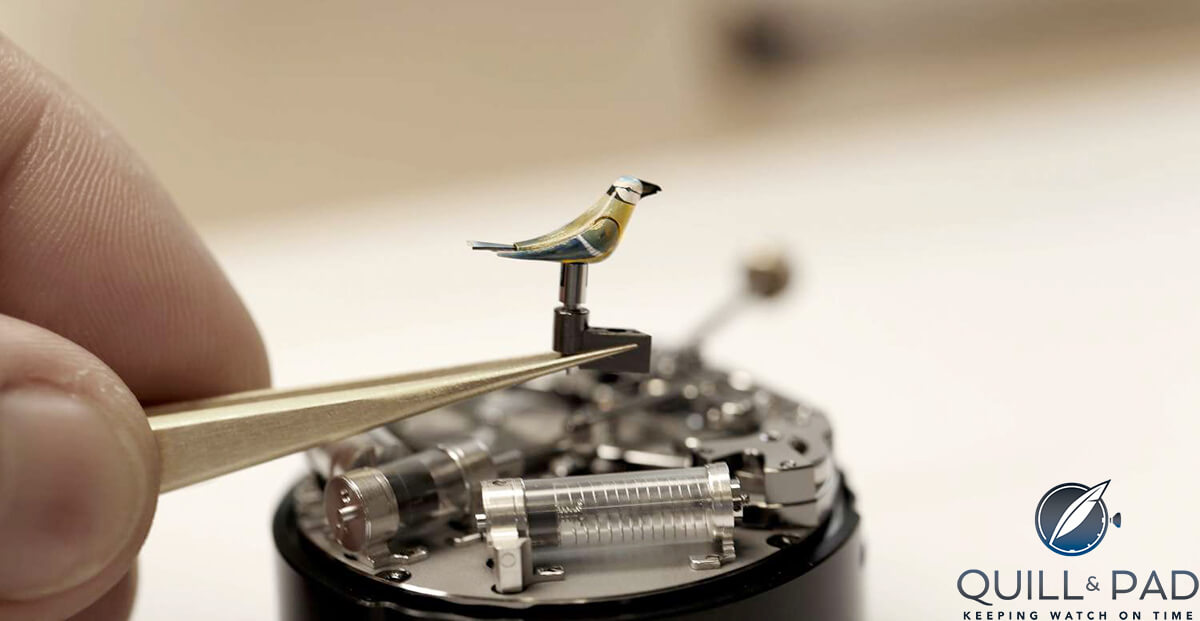 The intricate mechanism and tubes that create the melodious bird song of the Jaquet Droz Charming Bird