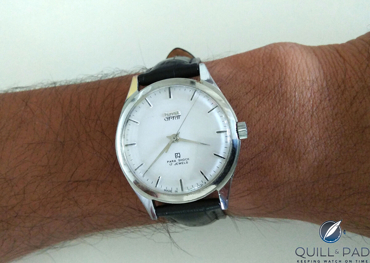 Dilip Sivaraman's first watch, a  manual winding HMT that he still wears today