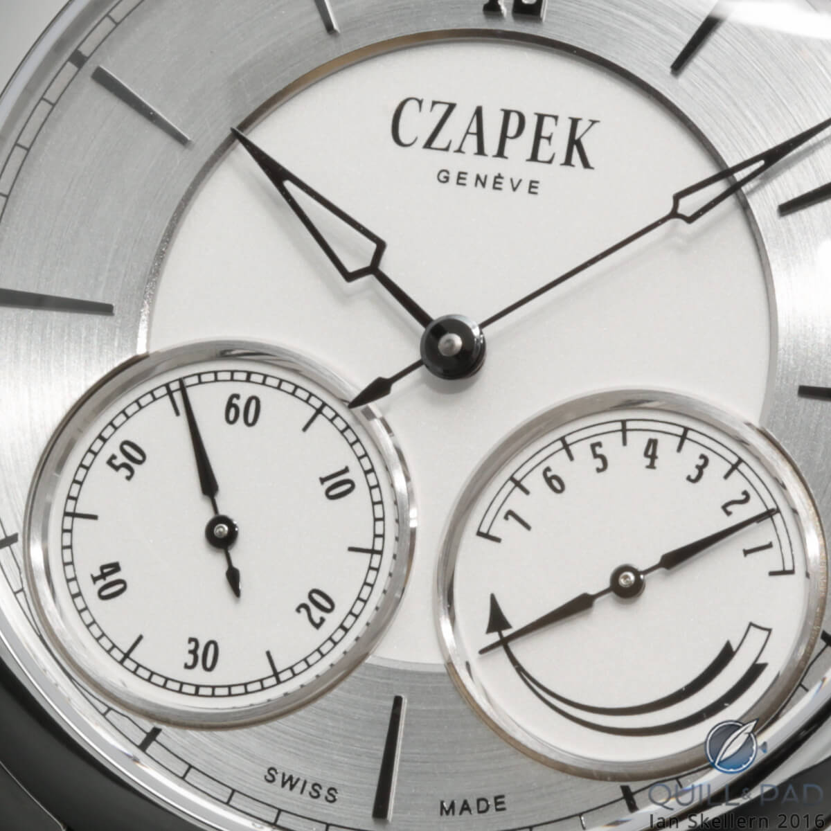 Close up look at the multi-layed dial of the Czapek & Cie. in steel from the Quai des Bergues collection