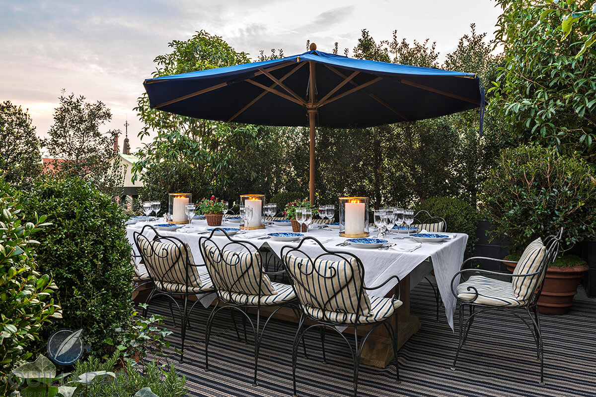 Palazzo Ralph Lauren's upstairs terrace is served by a private chef