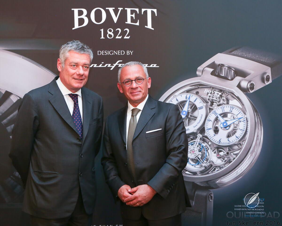 Paulo Pininfarina (left) and Bovet CEO Pascal Raffy