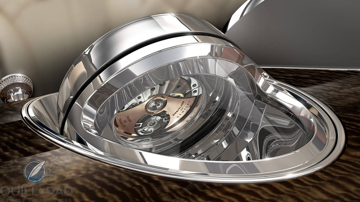 Breitling Mulliner Tourbillon in the Bentayga showing the automatic winding rotor