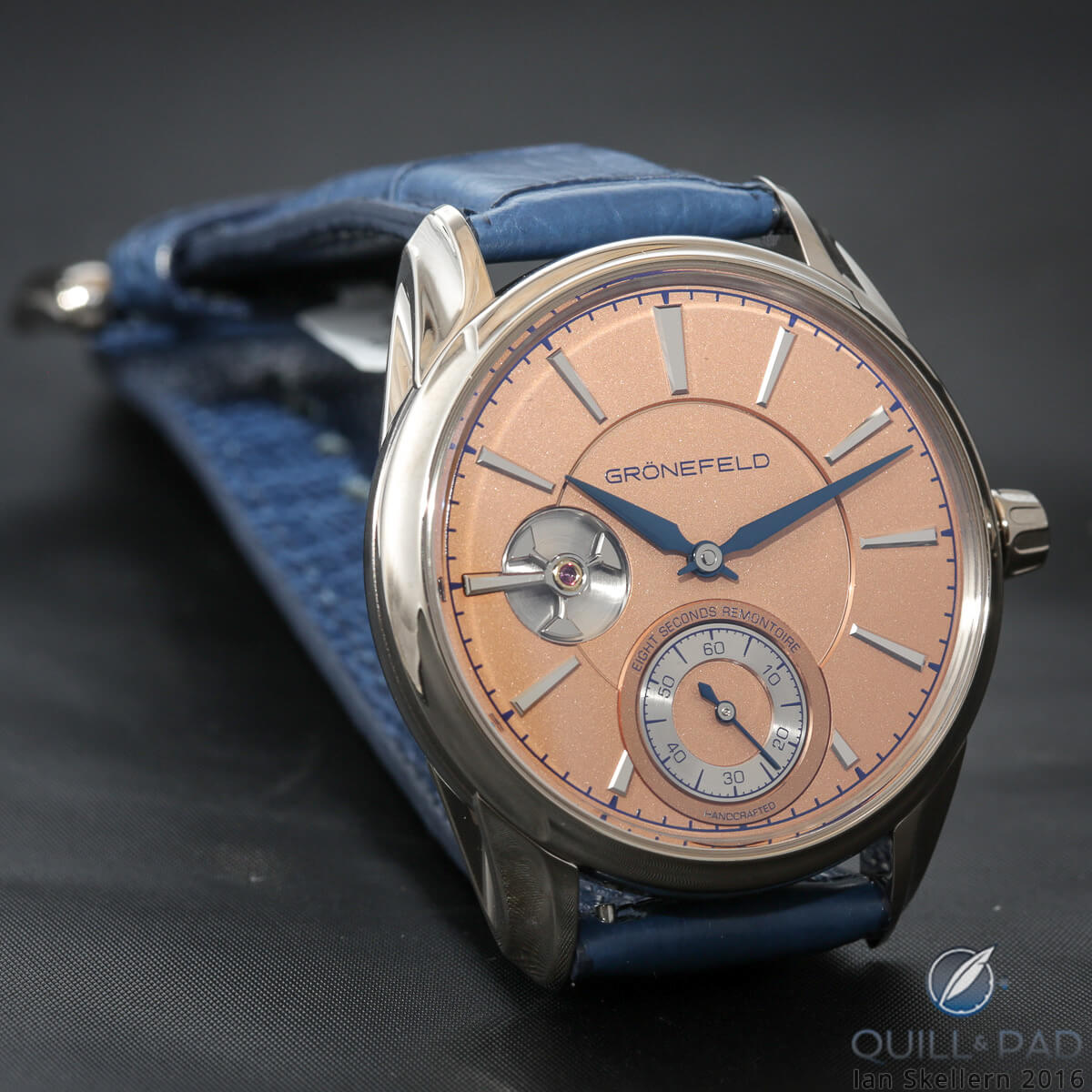 Grönefeld 1941 Remontoire in white gold with salmon-colored dial