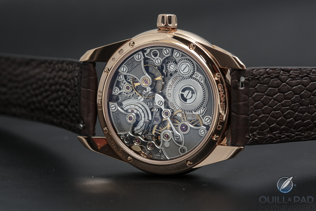 Back of the Grönefeld 1941 Remontoire revealing the beautiful movement within