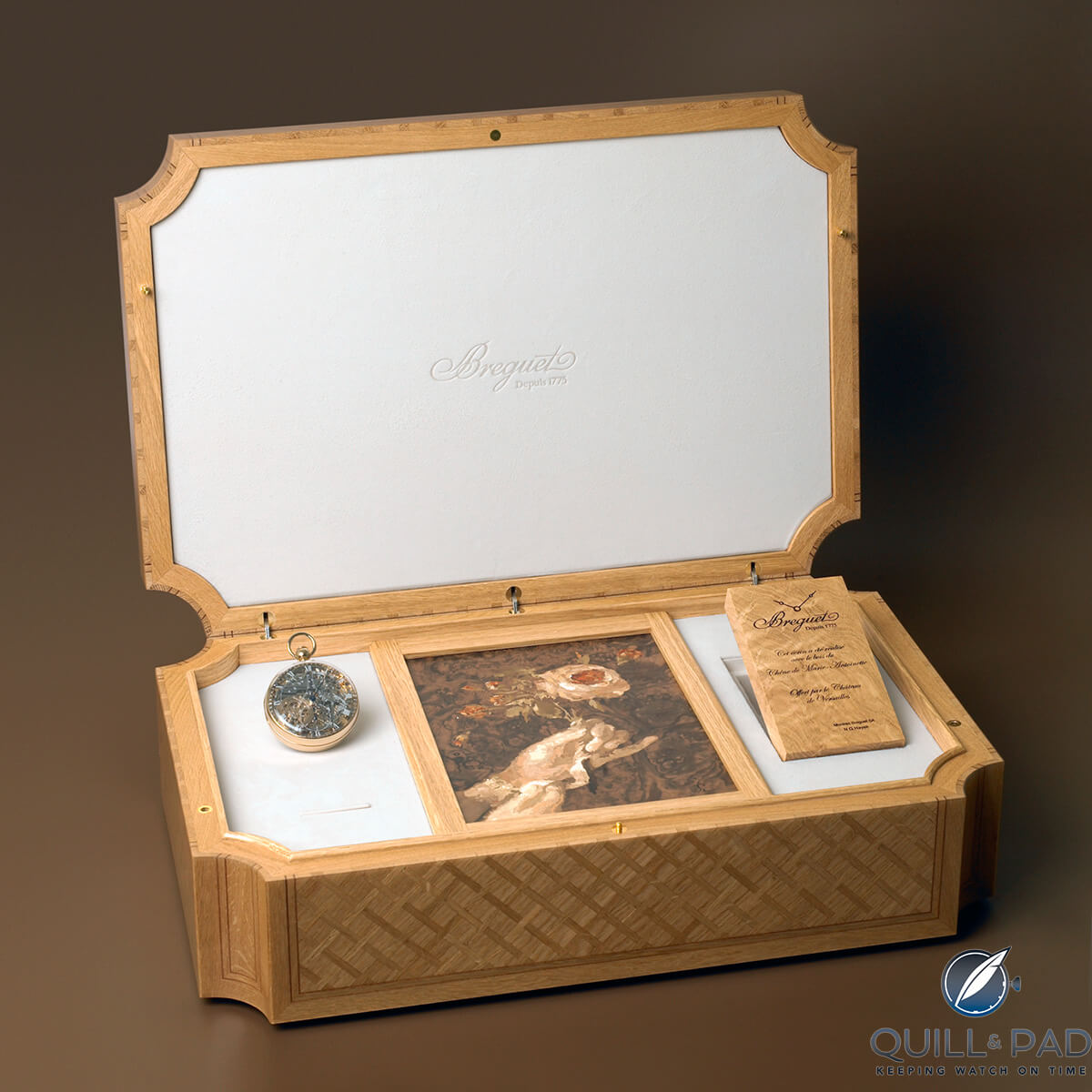 The presentation case for the Breguet Grande Complication No. 1160 made from the timber of Marie Antoinette's favorite oak tree