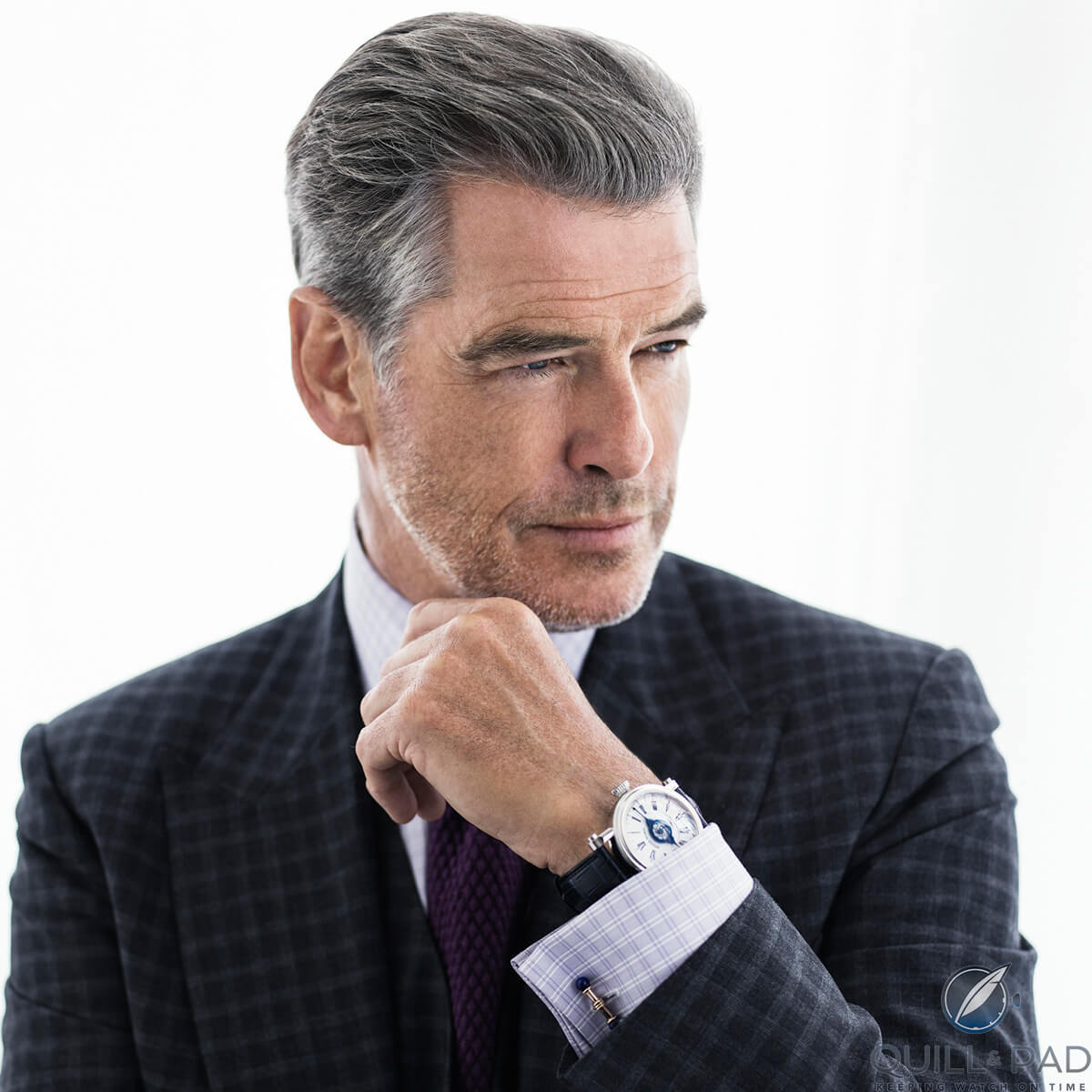Pierce Brosnan wearing a Speake-Marin Velsheda