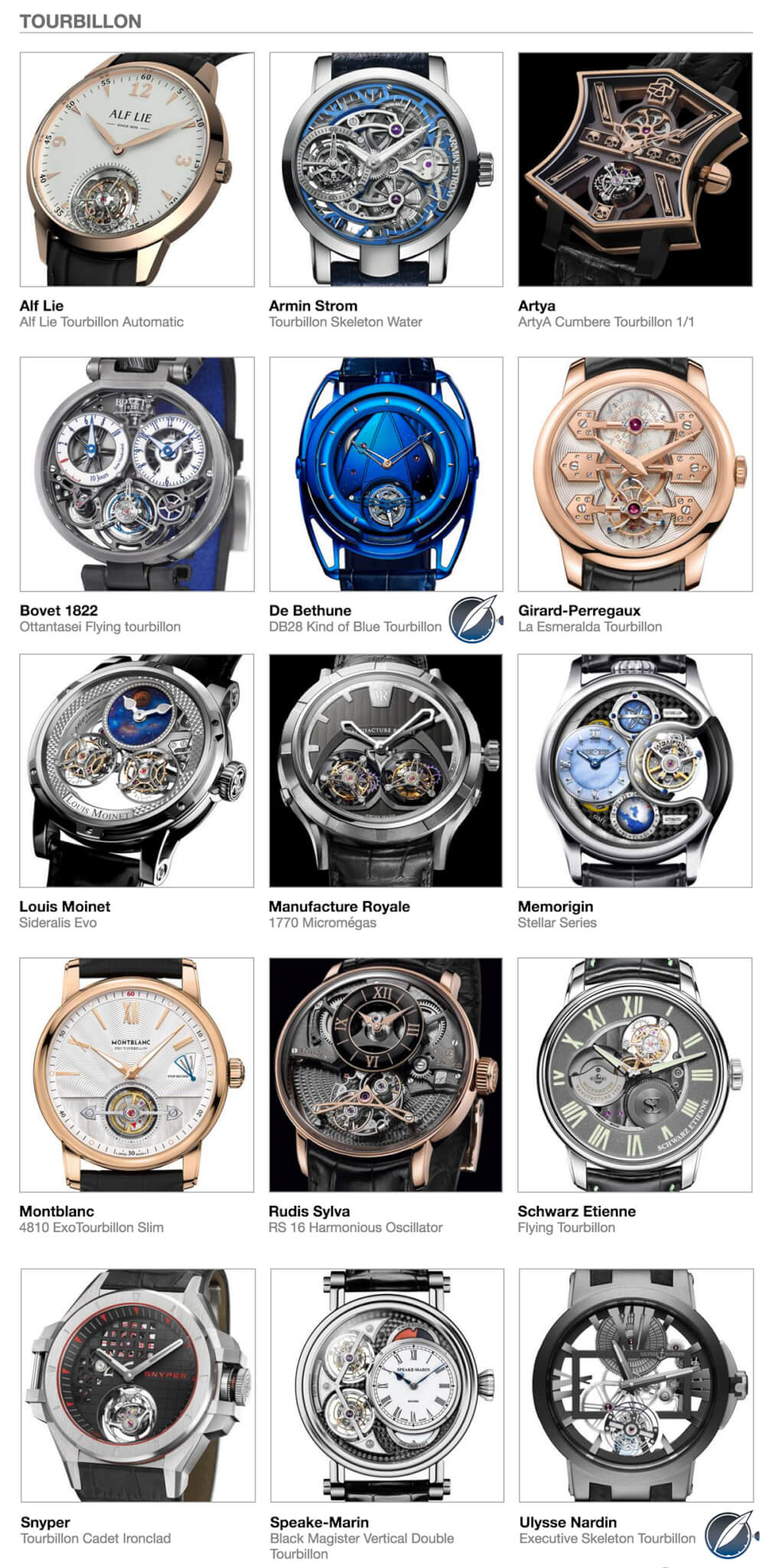 The Tourbillon category entries in the 2016 Grand Prix d'Horlogerie de Genève (GPHG)