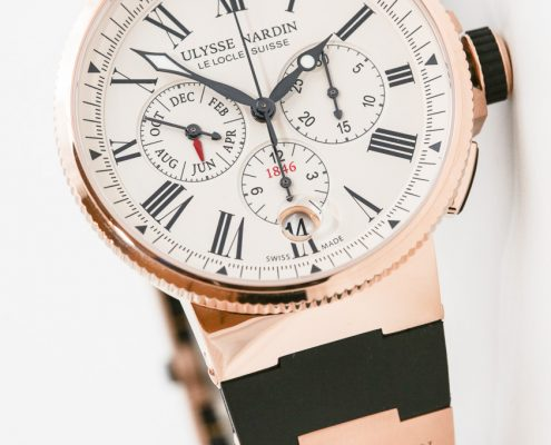 Ulysse Nardin Marine Chrono Annual Calendar in red gold with eggshell dial