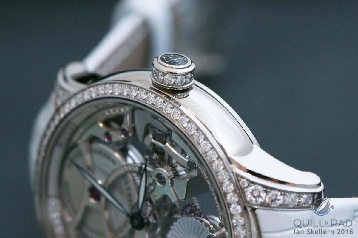 The Ulysse Nardin Skeleton Tourbillon Pearl's lusciously diamond-set crown