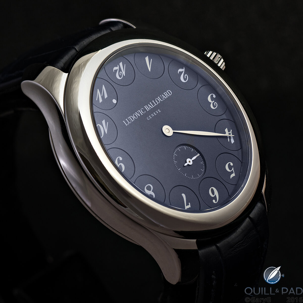 The author's Ludovic Ballouard Upside Down in platinum with blue dial
