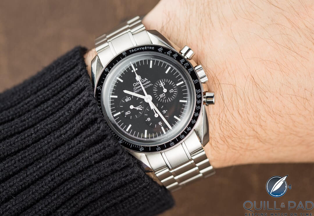 A pre-owned Omega Speedmaster on the wrist (photo courtesy Bob's Watches)