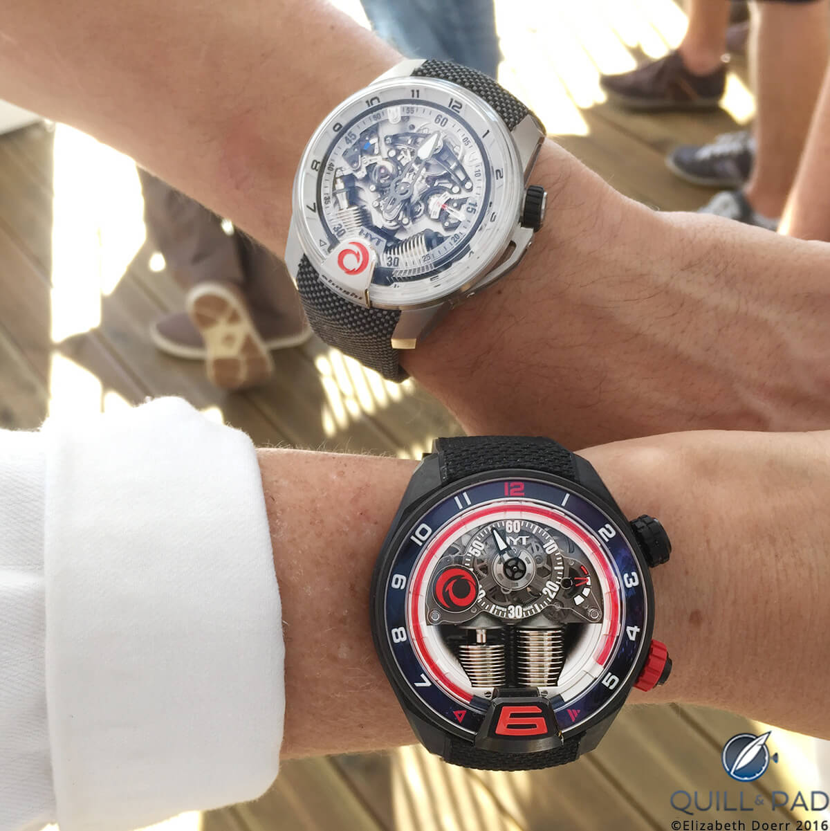 Double Trouble: HYT H2 Alinghi (top) and H4 Alinghi on the wrist