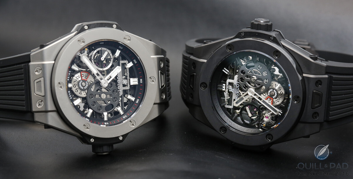 Titanium and black ceramic Big Bang MECA-10 side-by-side