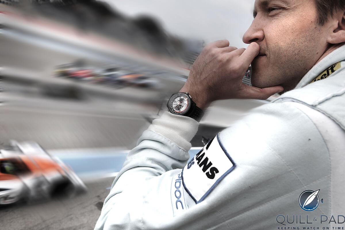 Jaeger-LeCoultre Amvox 5 World Chronograph on the wrist of Aston Martin racing driver Harold Primat