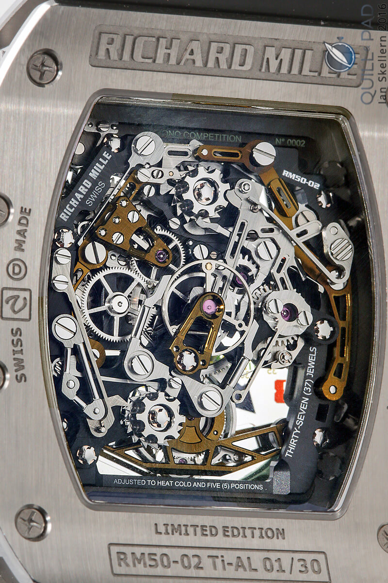 View through the display back of the Richard Mille RM 50-02 Airbus ACJ Tourbilon Split-Seconds