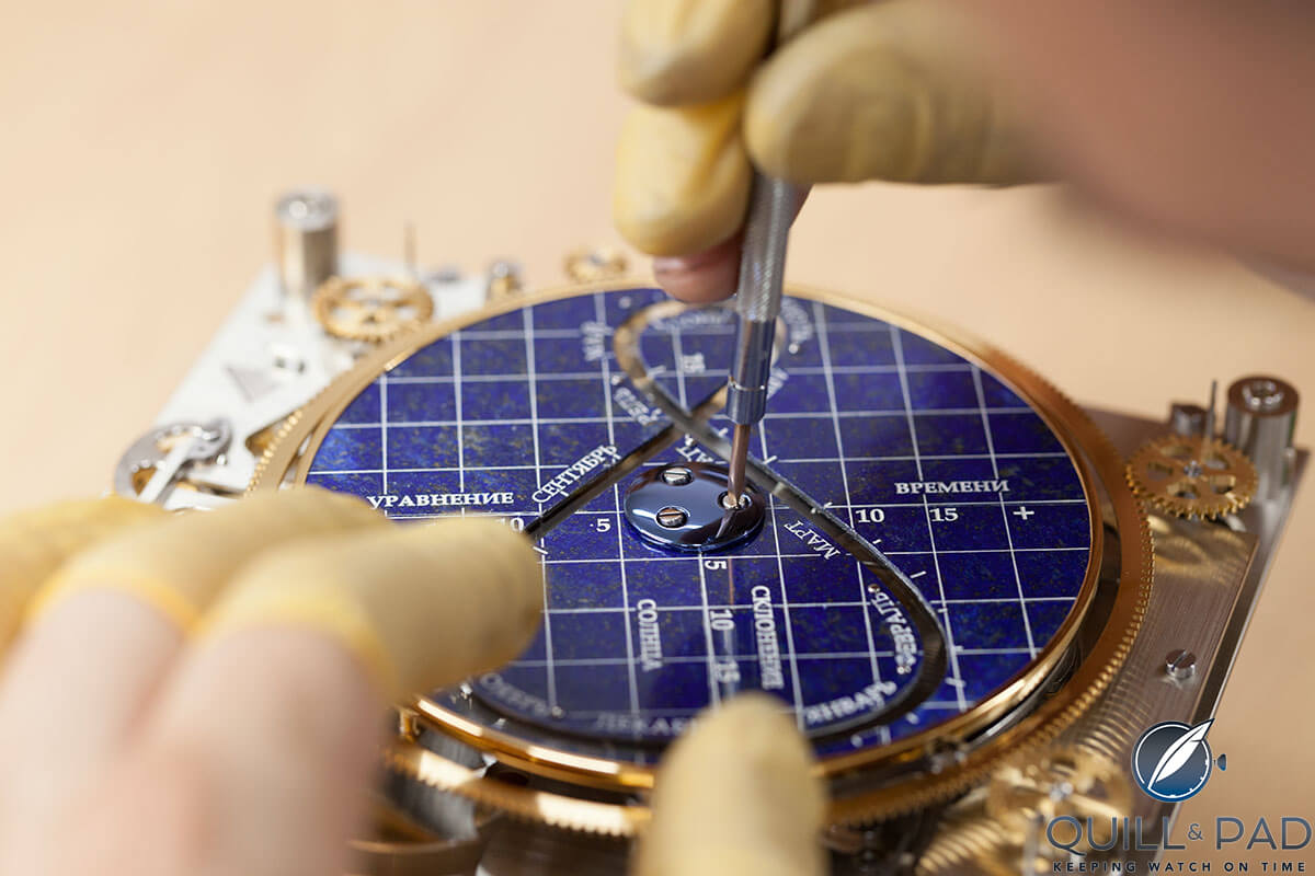 Konstantin Chaykin working on the movement of his Moscow Comptus Clock