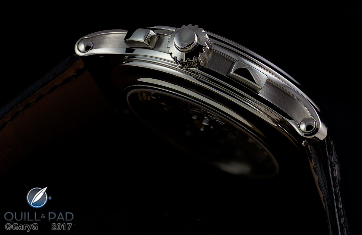Case detail of the Patek Philippe Reference 5370P with rattrapante pusher in crown