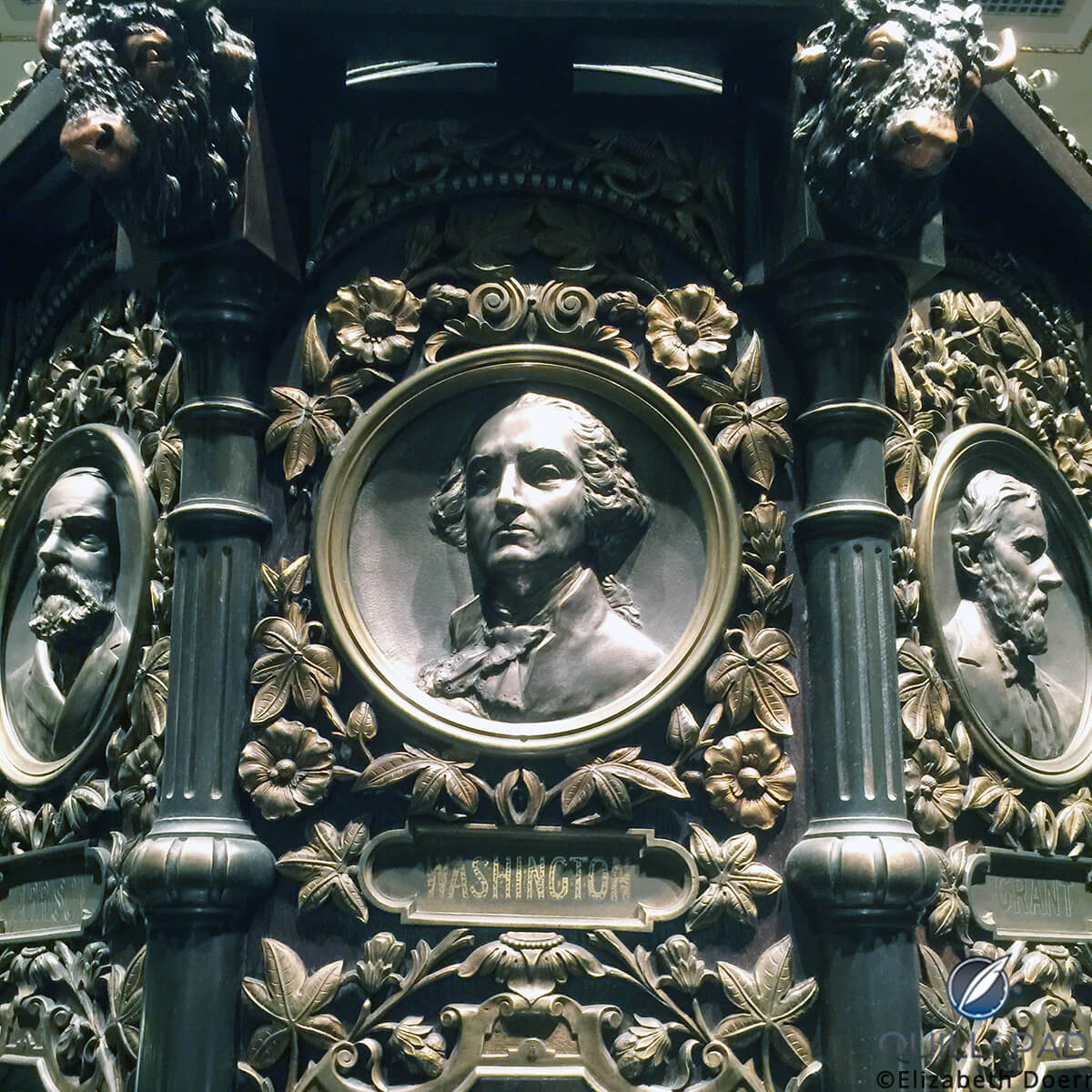 Bas-relief bust of George Washington on the clock in the Waldorf Astoria hotel, New York