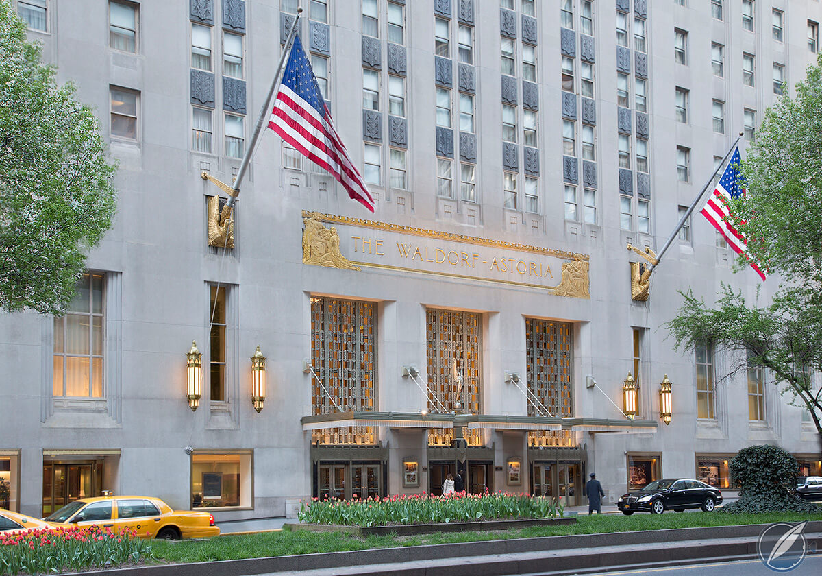 Park Avenue entrance of the Waldorf Astoria hotel, New York