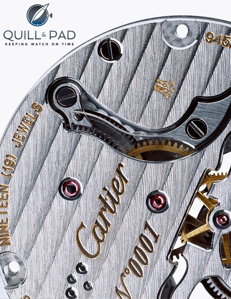 The Geneva Seal can be seen discreetly stamped at the top of this Cartier movement