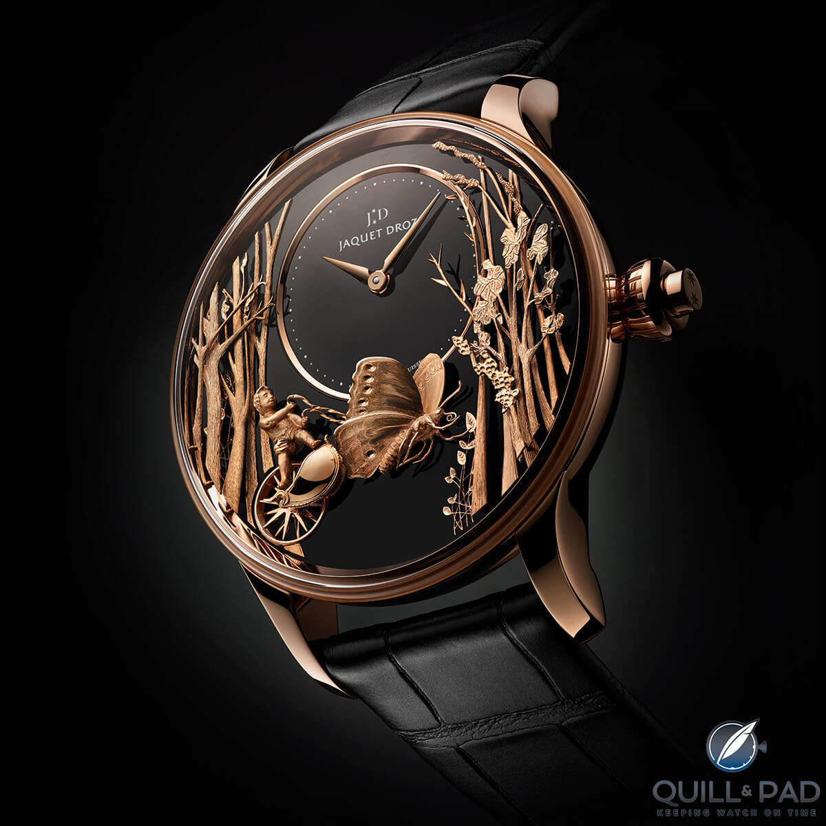 Jaquet Droz Loving Butterfly automaton in pink gold
