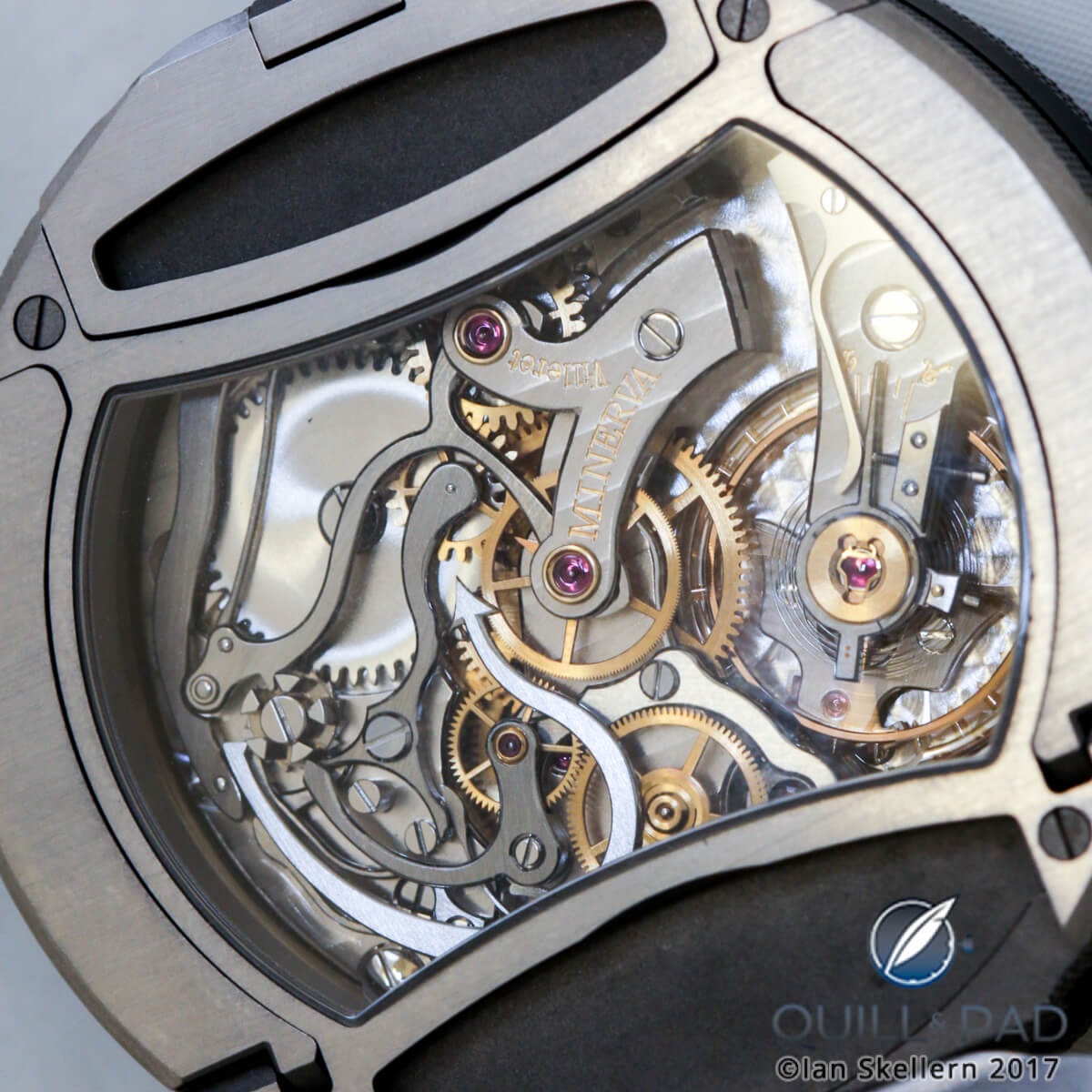 View through the display back of the Montblanc Timewalker Chronograph Rally Timer Counter Limited Edition 100