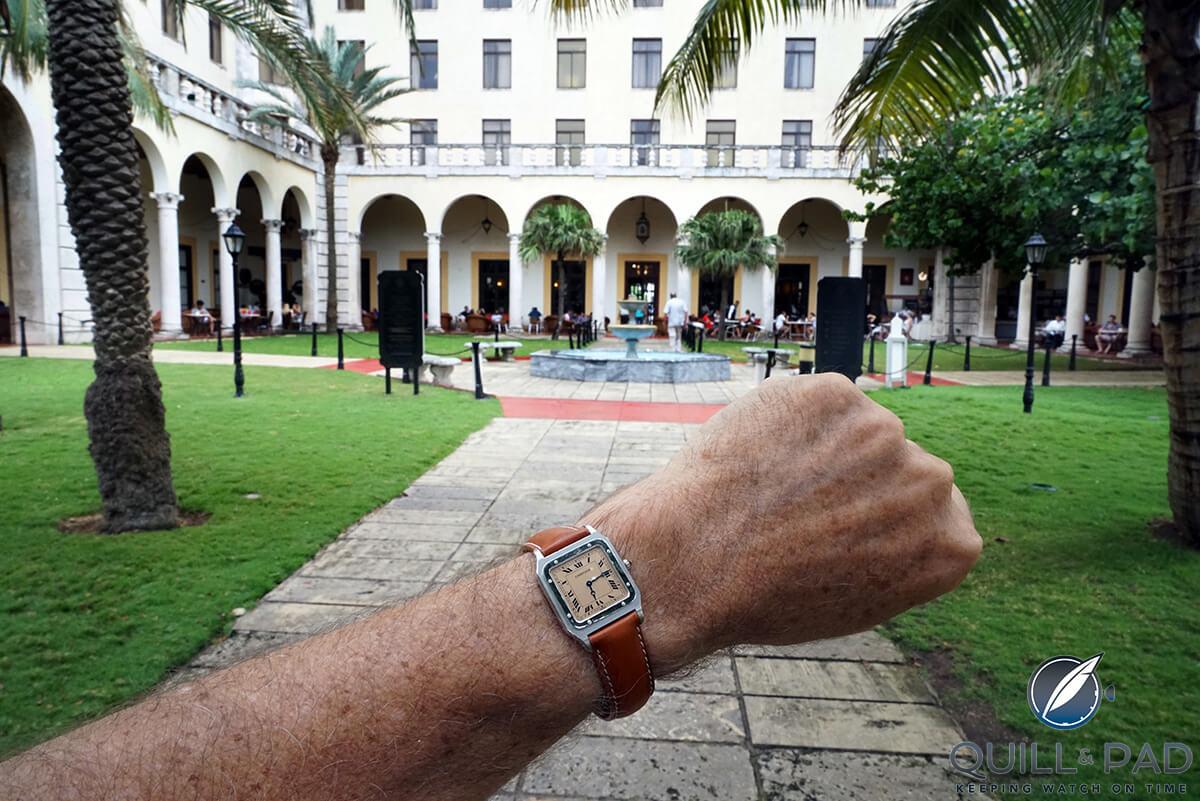 Cartier Santos Dumont wrist shot in front of the Hotel Nacional in Havana, Cuba (photo courtesy George Cramer)
