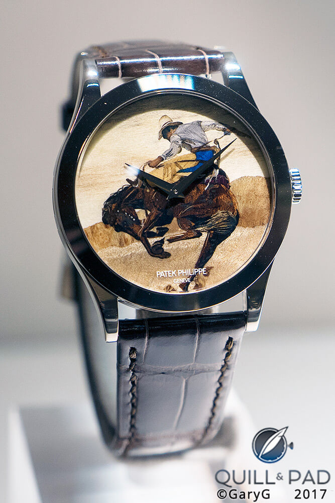 "Cowboy Bob returns: Patek Philippe ""Rodeo"" Watch with marquetry wood dial"