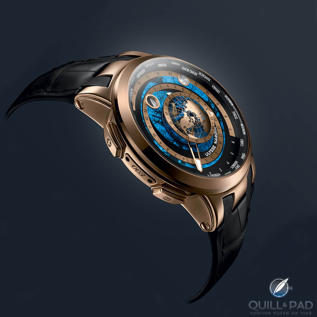 Ulysse Nardin Executive Moonstruck Worldtimer in red gold