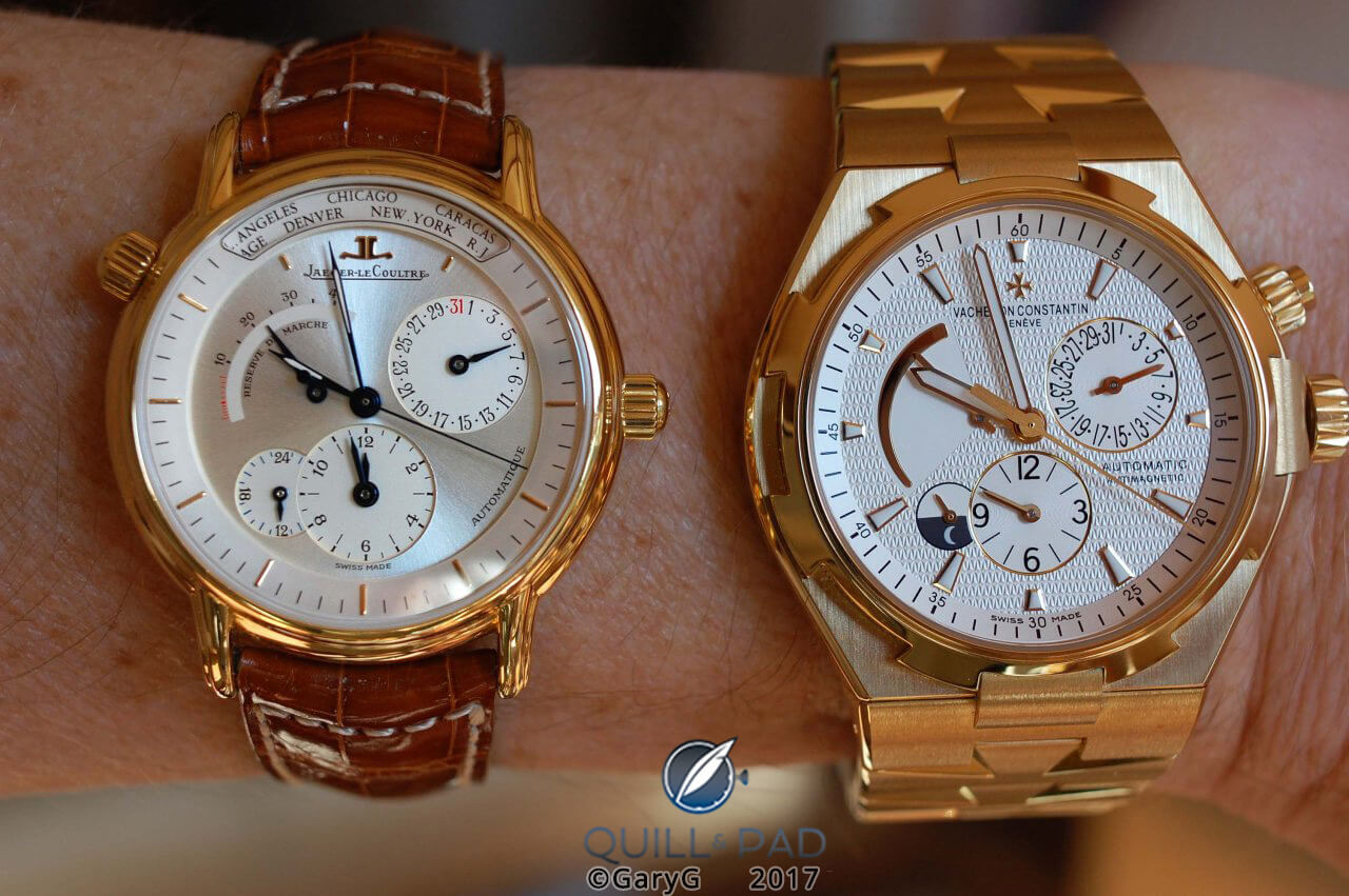 Two takes on world time: Jaeger-Lecoultre Géographique and Vacheron Constantin Overseas Dual Time, both in yellow gold