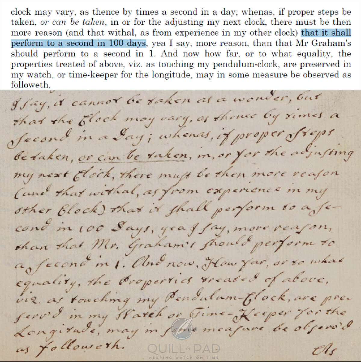 Part of a text published by John Harrison in which he claims that he could make a clock accurate to one-second over 100-days