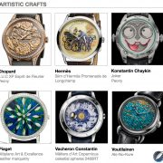 Pre-selected watches in the Artistic Crafts category of the 2017 GPHG: (clockwise from top left) Chopard L.U.C XP Esprit de Fleurier Peony, Hermès Slim d'Hermès Promenande de Longchamp, Konstantin Chaykin Joker, Piaget Altiplano Art & Excellence feather marquetry, Vacheron Consantin Métiers d'Art Copernicus Celestial Spheres, and Kari Voutilainen Aki-No-Kure