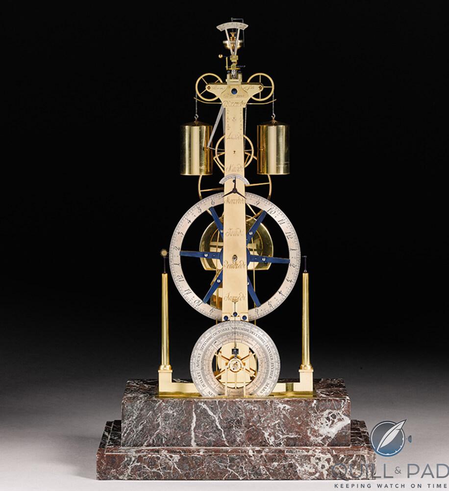 Breguet three-wheel skeleton clock by George Daniels