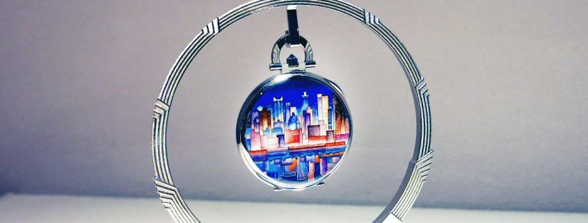 Manhattan from Brooklyn artwork on the back of the unique piece Patek Philippe created for the Art of Watches Grand Exhibition in New York