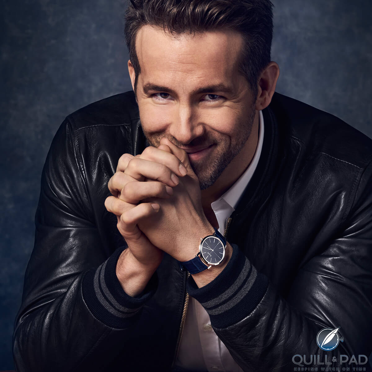 Piaget brand ambassador Ryan Reynolds wearing an Altiplano 60th anniversary piece
