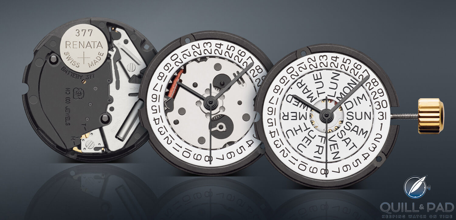 ETA quartz Caliber 803 features plastic components
