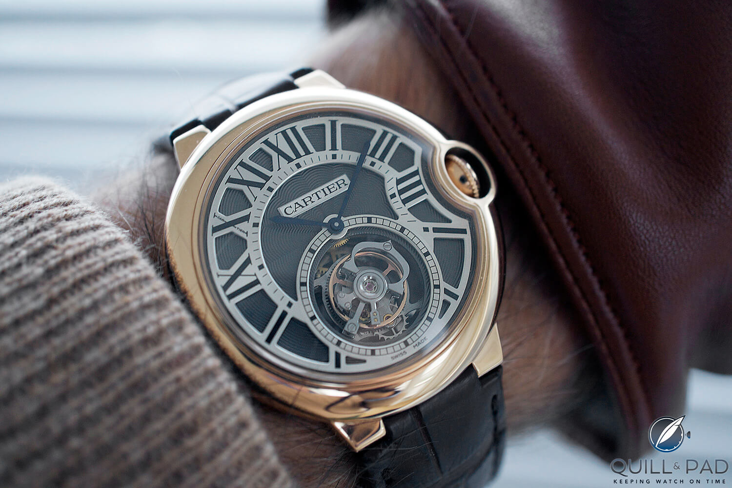 Cartier Ballon Bleu Tourbillon on the wrist (photo courtesy George Gramer)