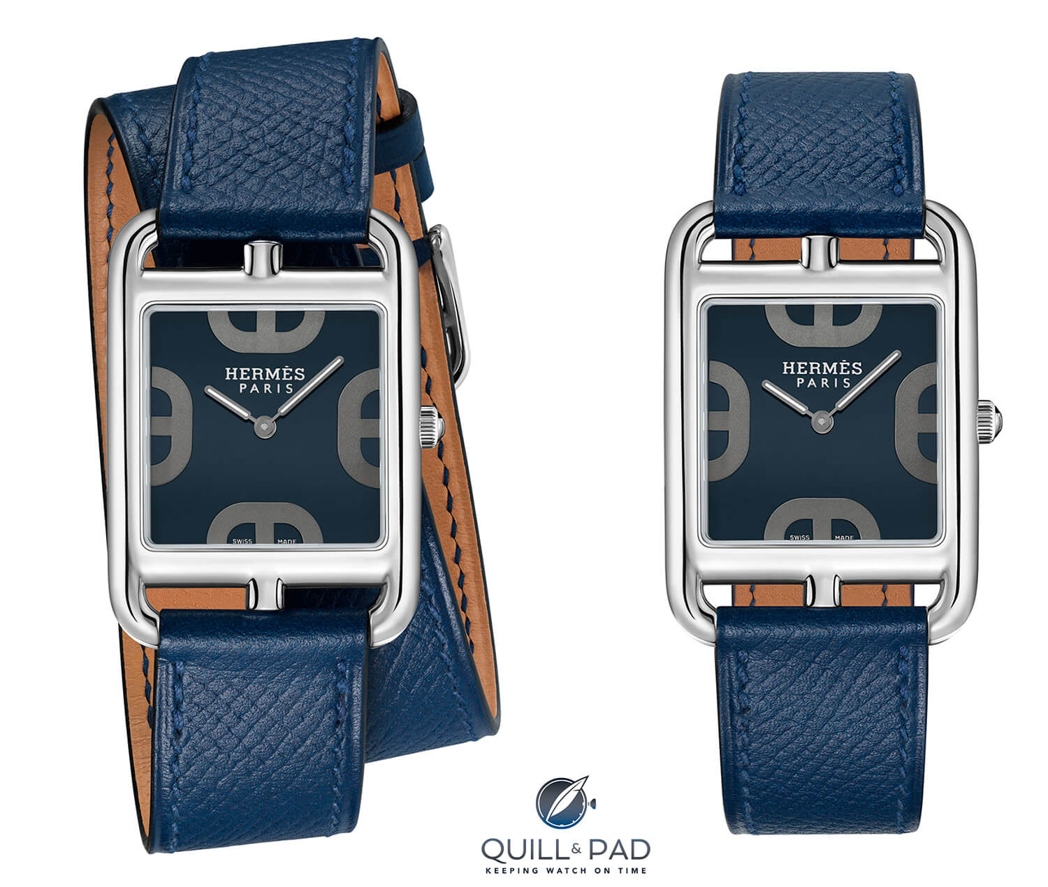 Hermès Cape Cod GM Cadran Maillon Chaîne d'Ancre blue with double wrap (left) and single wrap straps