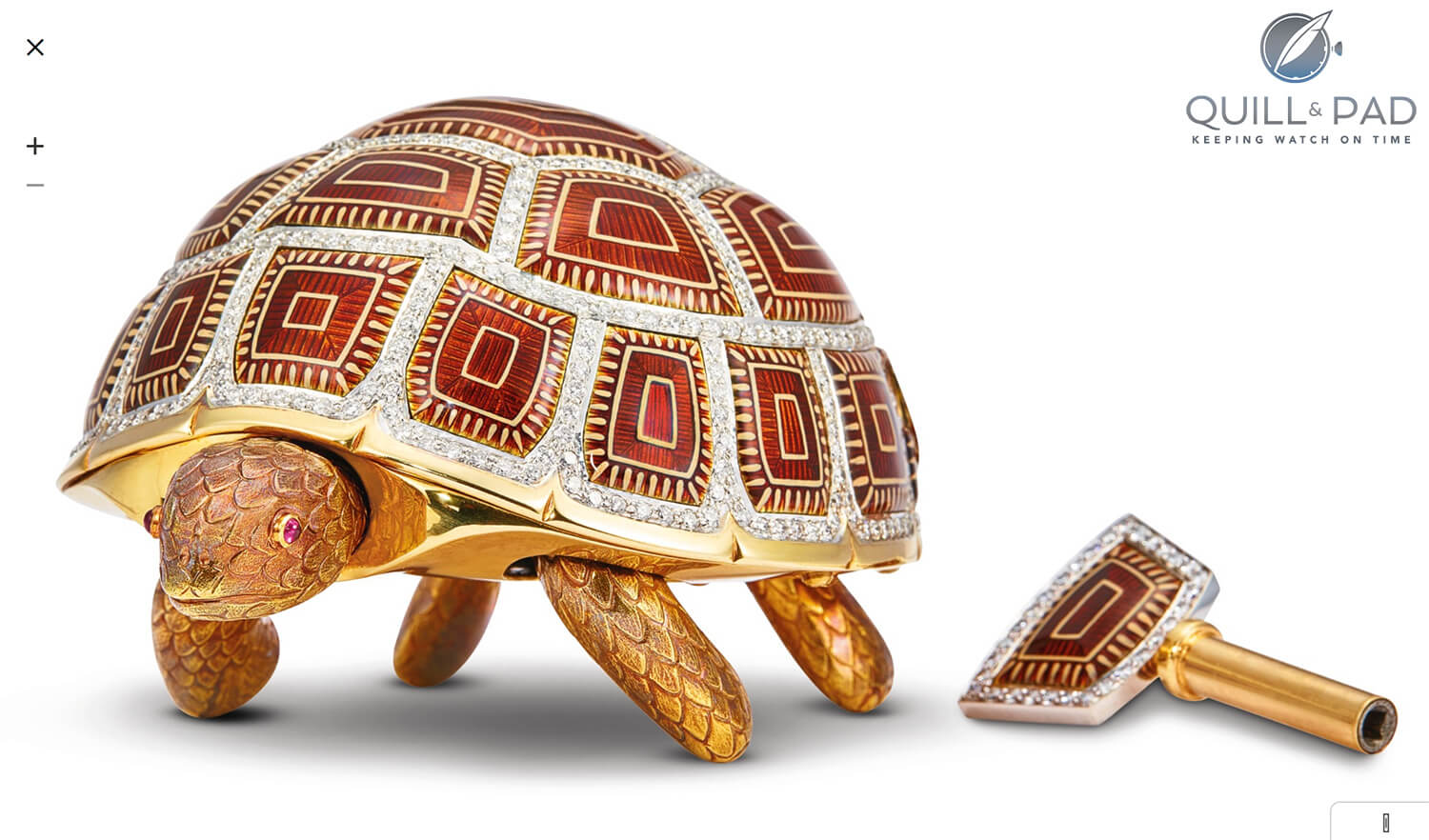 Asprey tortoise with winding key from 1989 in yellow gold, enamel, and diamonds (photo courtesy Sotheby's)