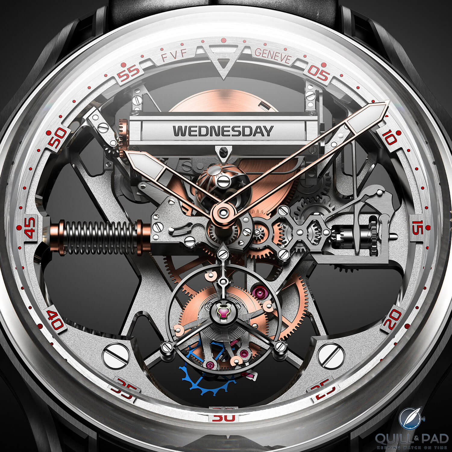 Close up look dial side of the Profile view of the Franc Vila FVF Emotional Horology No 1 Superligero