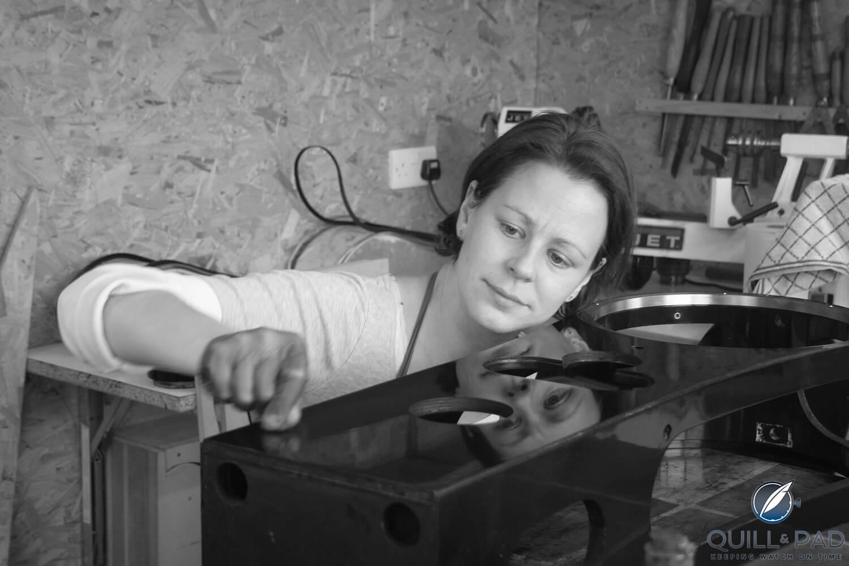 Cornelia de Fossard working on the case of the Solar Time Clock